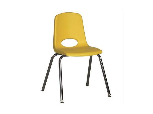 Early Childhood Resource ELR-0196-YEG 18 in. School Stack Chair with Chrome Swivel Glide Legs - Yellow
