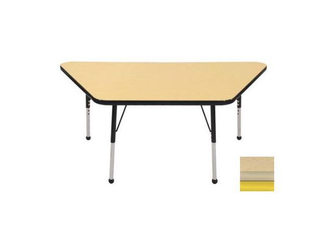 Early Childhood Resource ELR-14119-MMYE-SB 30 in. x 60 in. Maple Trapezoid Adjustable Activity Table with Maple Edge and Yellow Standard Leg Ball Glides