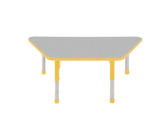 Early Childhood Resource ELR-14119-GYE-C 30 in. x 60 in. Gray Trapezoid Adjustable Activity Table with Yellow Chunky Leg