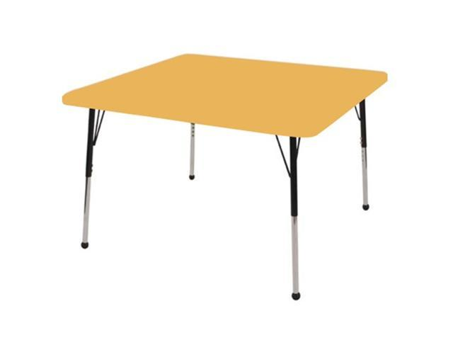 Early Childhood Resource ELR-14116-MMBK-TB 30 in. Maple Square Adjustable Activity Table with Maple Edge and Black Toddler Legs Ball Glide