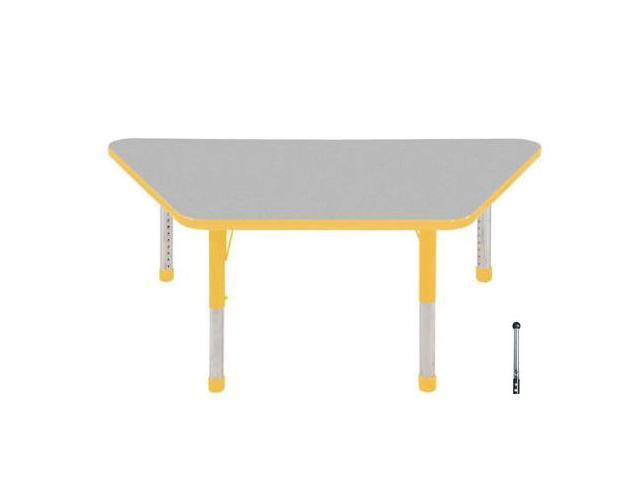Early Childhood Resource ELR-14119-GYE-SB 30 in. x 60 in. Gray Trapezoid Adjustable Activity Table with Yellow Edge and Yellow Standard Leg Ball Glides