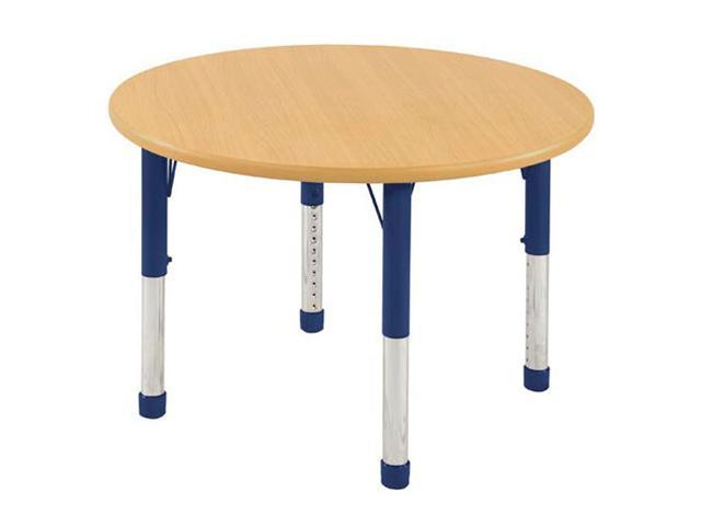 Early Childhood Resource ELR-14114-MMBL-C 36 in. Maple Round Adjustable Activity Table with Blue Chunky Leg
