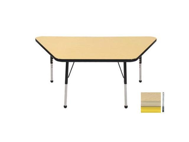 Early Childhood Resource ELR-14119-MMYE-TS 30 in. x 60 in. Maple Trapezoid Adjustable Activity Table with Maple Edge and Yellow Toddler Legs Nylon Swivel Glides