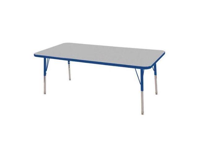 Early Childhood Resource ELR-14111-GBL-SS 30 in. x 60 in. Gray Rectangular Adjustable Activity Table with Blue Edge and Blue Standard Leg Nylon Swivel Glides