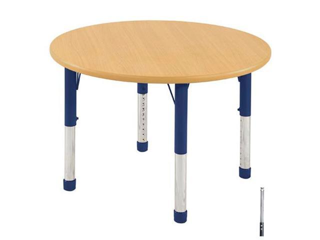 Early Childhood Resource ELR-14114-MMBL-SS 36 in. Maple Round Adjustable Activity Table with Maple Edge and Blue Standard Leg Nylon Swivel Glides