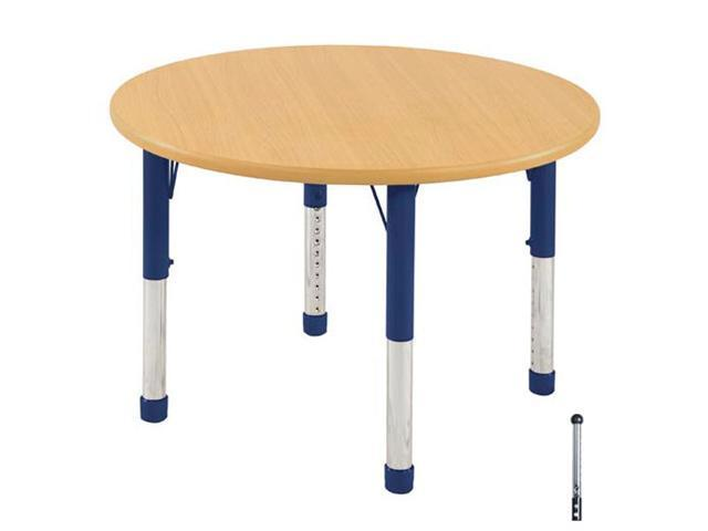 Early Childhood Resource ELR-14114-MMBL-TB 36 in. Maple Round Adjustable Activity Table with Maple Edge and Blue Toddler Leg Ball Glides