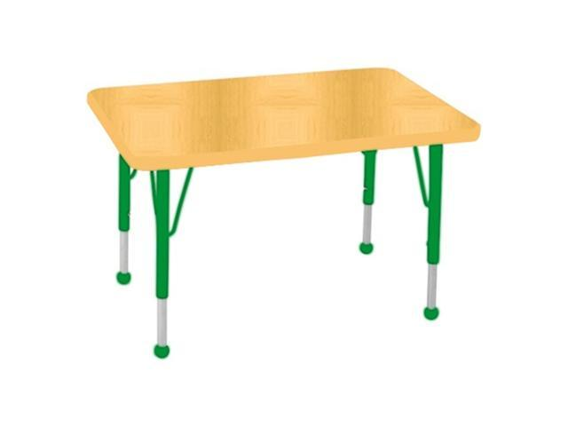 Early Childhood Resource ELR-14106-MMGN-TB 24 in. x 36 in. Maple Rectangular Adjustable Activity Table with Maple Edge and Green Toddler Leg Ball Glides