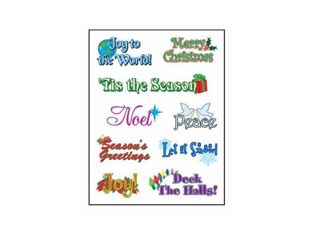Beistle - 24012 - Clear-Sheet Christmas Expressions Stickers- Pack of 12