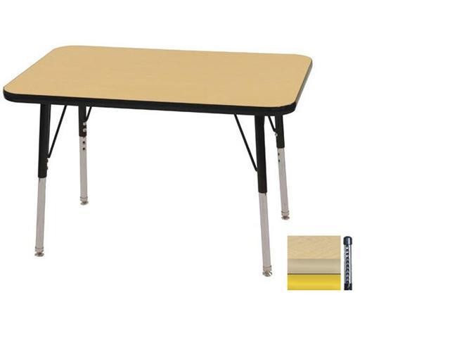 Early Childhood Resource ELR-14106-MMYE-C 24 in. x 36 in. Maple Rectangular Adjustable Activity Table with Yellow Chunky Legs
