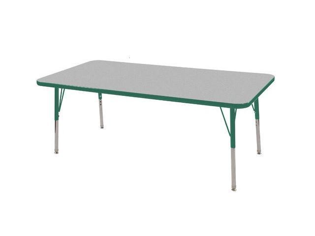 Early Childhood Resource ELR-14111-GGN-TS 30 in. x 60 in. Gray Rectangular Adjustable Activity Table with Green Edge and Green Toddler Legs Nylon Swivel Glides