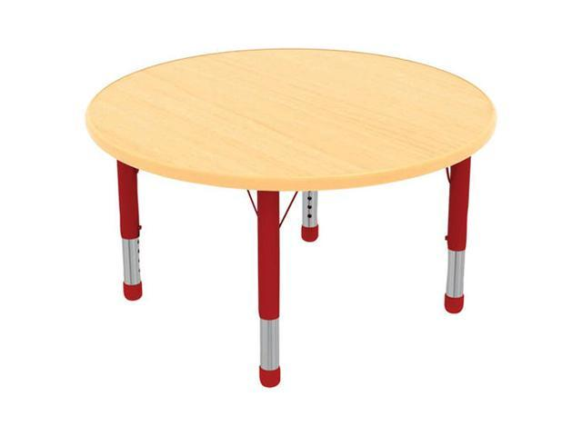 Early Childhood Resource ELR-14114-MMRD-C 36 in. Maple Round Adjustable Activity Table with Red Chunky Leg
