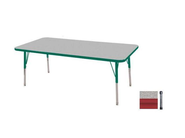 Early Childhood Resource ELR-14111-GRD-C 30 in. x 60 in. Gray Rectangular Adjustable Activity Table with Red Chunky Leg