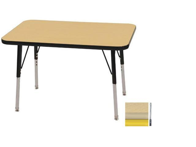 Early Childhood Resource ELR-14106-MMYE-SS 24 in. x 36 in. Maple Rectangular Adjustable Activity Table with Maple Edge and Yellow Standard Leg Nylon Swivel Glides