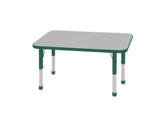 Early Childhood Resource ELR-14107-GGN-C 24 in. x 48 in. Gray Rectangular Adjustable Activity Table with Green Chunky Legs