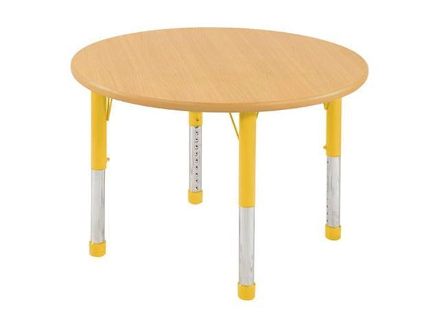 Early Childhood Resource ELR-14114-MMYE-C 36 in. Maple Round Adjustable Activity Table with Red Chunky Leg