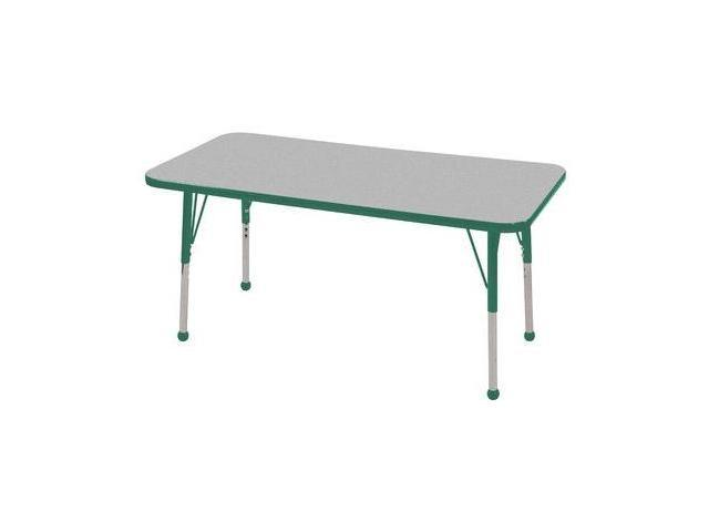 Early Childhood Resource ELR-14107-GGN-TB 24 in. x 48 in. Gray Rectangular Adjustable Activity Table with Green Edge and Green Toddler Leg Ball Glides