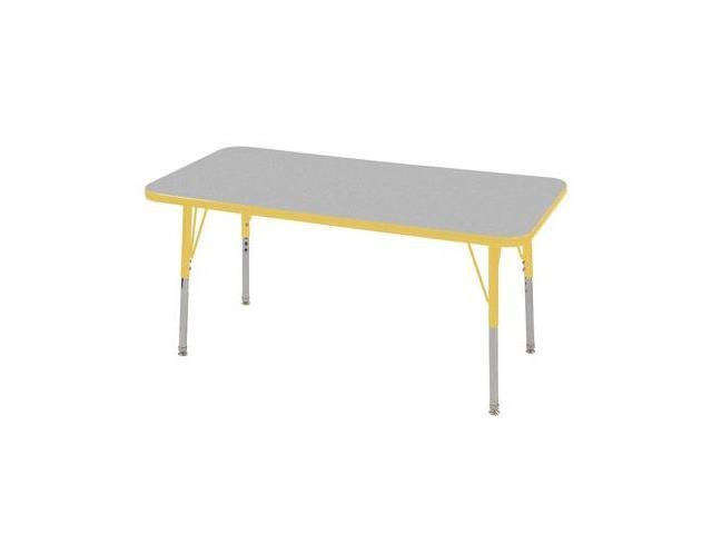 Early Childhood Resource ELR-14107-GYE-SS 24 in. x 48 in. Gray Rectangular Adjustable Activity Table with Yellow Edge and Yellow Standard Leg Nylon Swivel Glides