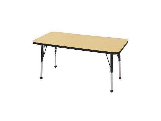 Early Childhood Resource ELR-14107-MBBK-SB 24 in. x 48 in. Maple Rectangular Adjustable Activity Table with Black Edge and ...