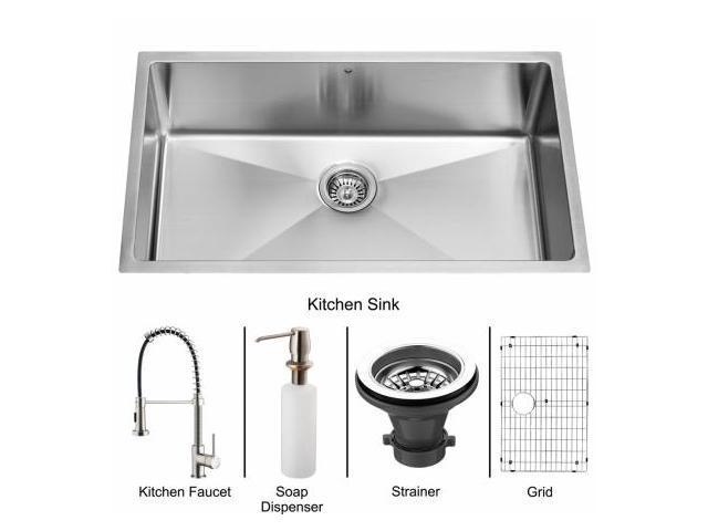 Vigo VG15078 Undermount Stainless Steel Kitchen Sink, Faucet, Grid, Strainer and Dispenser