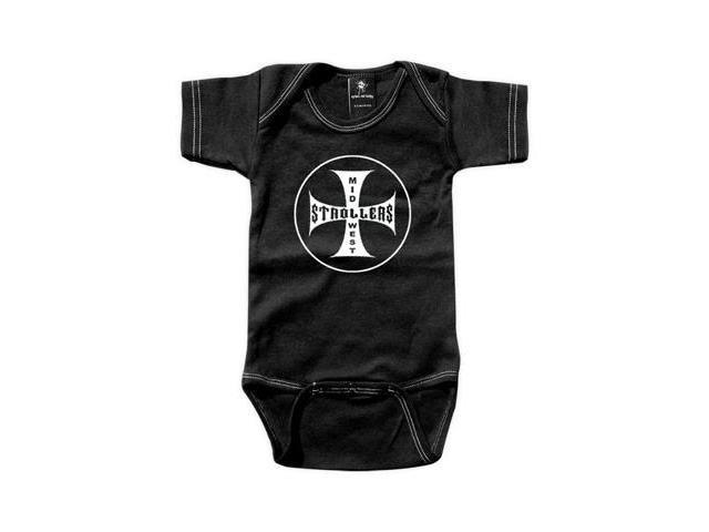 Rebel Ink Baby 340bo1218 MidWest Strollers- 12-18 Month Black One Piece Undershirt