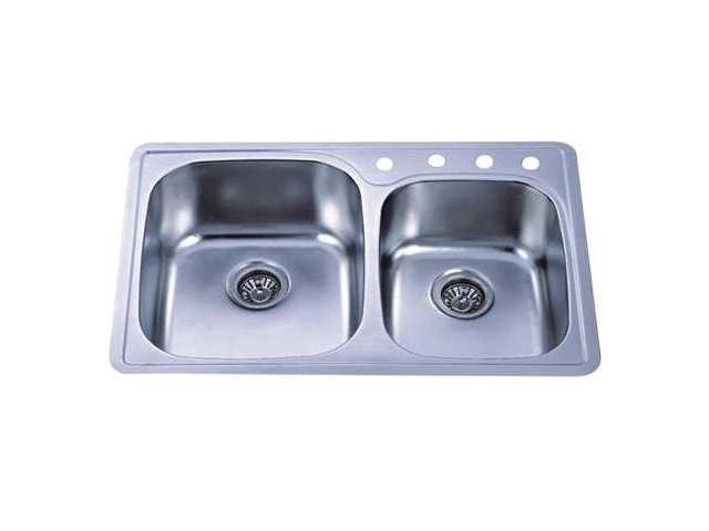 Kingston Brass GKTDD3322CH Gourmetier GKTDD3322CH Self-Rimming Double Bowl Kitchen Sink, Brushed Nickel