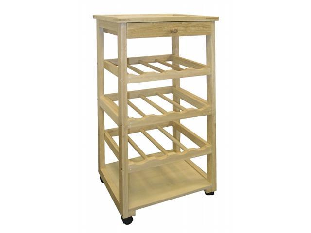 Ore International F-2002 Wooden Wine Rack with Wheels