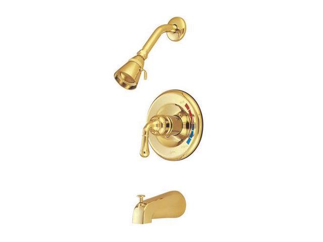 Kingston Brass KB632 Pressure Balance Tub & Shower Faucet - Polished Brass