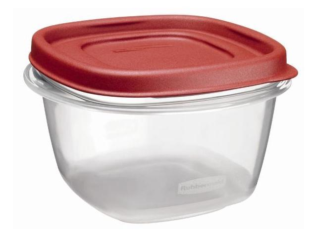 Rubbermaid 2 Cup Square Chili Red Easy Find Container  1777085