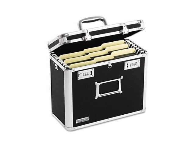 Vaultz VZ01187 Locking File Tote Storage Box- Letter- 13-3/4 x 7-1/4 x 12-1/4- Black