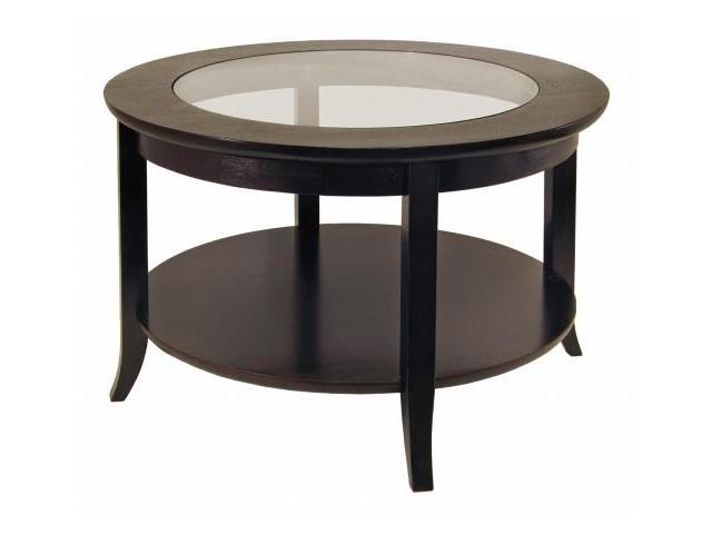 Winsome 92219 Genoa Coffee Table with Glass Top  Dark Espresso