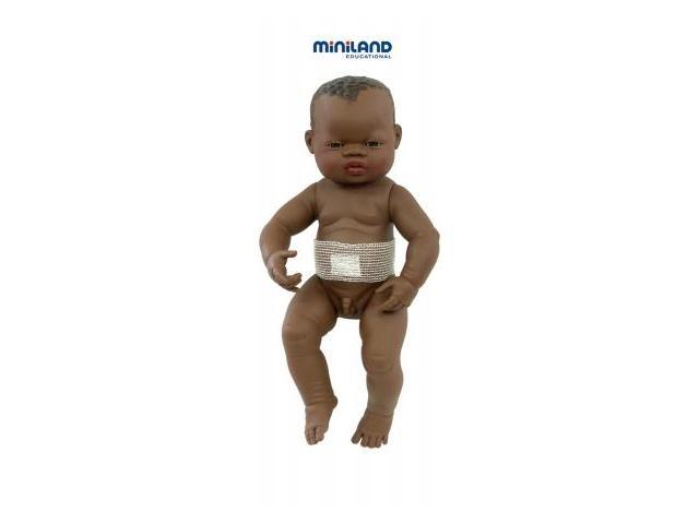 Miniland Educational 31003 Newborn african baby boy with navel gauze- 42 cm- 16 .5 in.Polybag