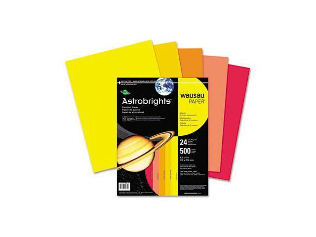 Wausau Paper 20272 Astrobrights Colored Paper- 24lb- 8-1/2 x 11- Warm Assortment- 500 Sheets/Ream