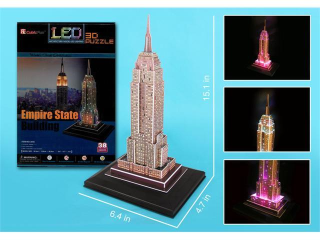 3D Puzzles CFL503H Empire State with Base and Lights 38 Pieces