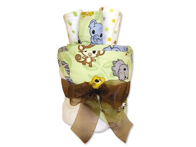 Trend-Lab 109177 4 Piece Hooded Towel Gift Cake-White Terry With Chibi Zoo Animals Percale Hood- Trim