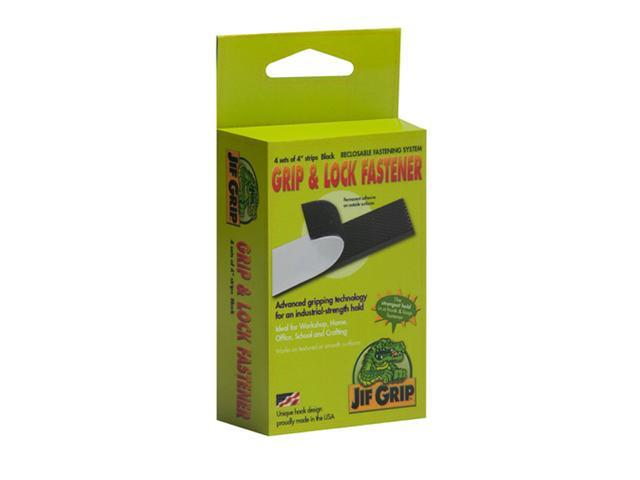 Jifram Extrusions 14000063 Jif Grip Black Hook & Loop Fastener four 1 in. X 4 in. strips with permanent adhesive back