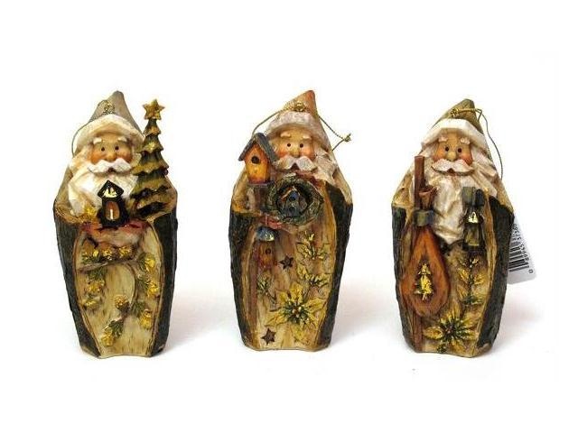 Roman Carved Santa Ornament Set of 3