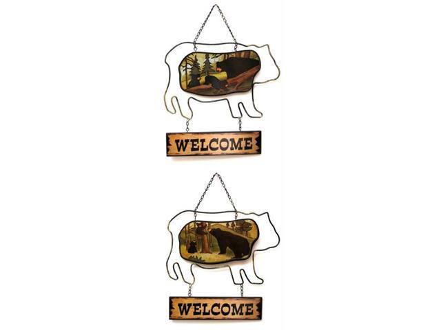 Bear Welcome Plaque in Two Styles  Price Each