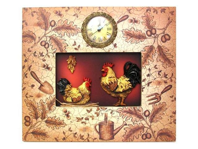 IWDSC 0160-06204 Ornate Rooster Plaque With Clock