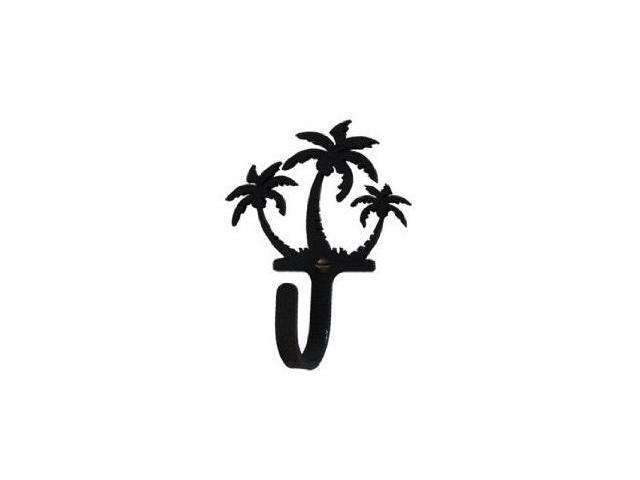 Village Wrought Iron WH-139-S Triple Palm Trees Hook Small - Black
