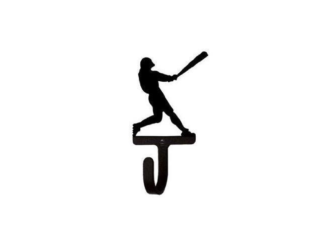Village Wrought Iron WH-182-S Baseball Player Wall Hook Small - Black