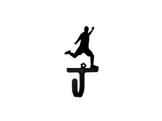Village Wrought Iron WH-183-S Soccer Player Wall Hook Small - Black