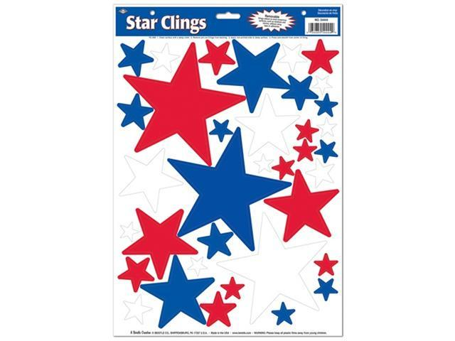Beistle 54444 Star Clings - Red/White/Blue Pack of 12