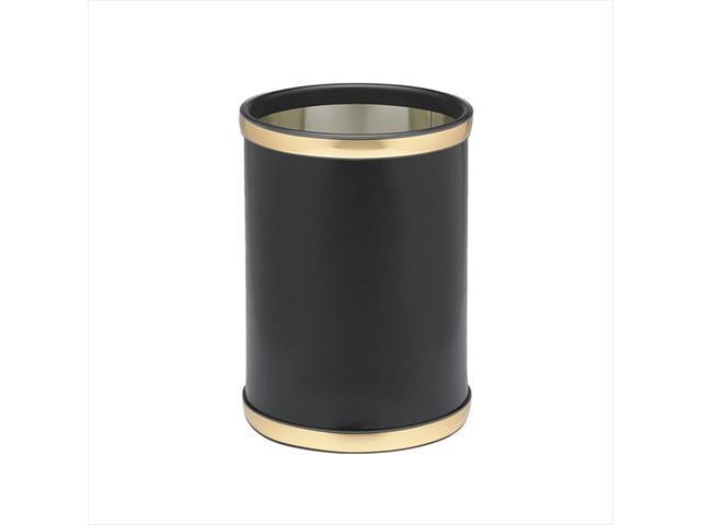 Kraftware 50148 Sophisticates Black With Brushed Gold 10 Inch Round Waste Basket
