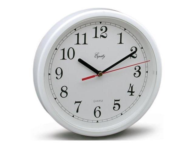 Equity By La Crosse 8in. White Frame Round Quartz Wall Clock  25011