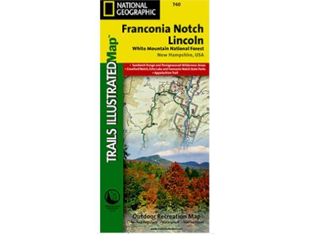 National Geographic TI00000740 Map Of Franconia Notch-North Conway - New Hampshire