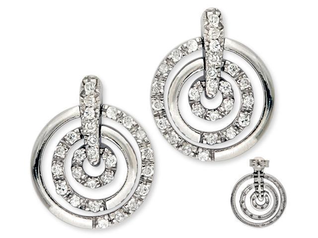 CZ EAR1339 C.Z. Diamond Polished Sterling Silver Triple Nested Circle Earrings