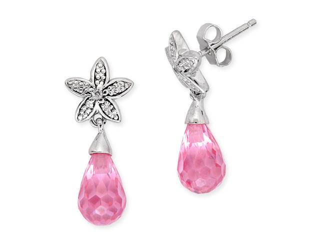 CZ EAR1672-P C.Z. Diamond Simulated Pink Sapphire Briolette Flower Earrings