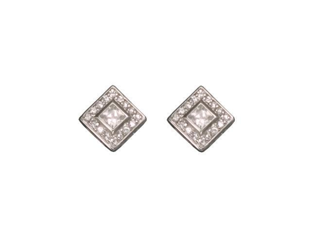 CZ EAR2215 C.Z. SQUARE RHODIUM PLATED - .925 - STERLING SILVER EARRINGS