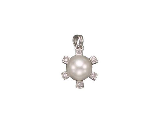 CZ PEN956 C.Z. AND PEARL RHODIUM PLATED - .925 - STERLING SILVER PENDENT