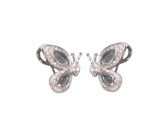 CZ EAR699 C.Z. AND LAVENDER BUTTERFLY RHODIUM PLATED - .925 - STERLING SILVER EARRINGS